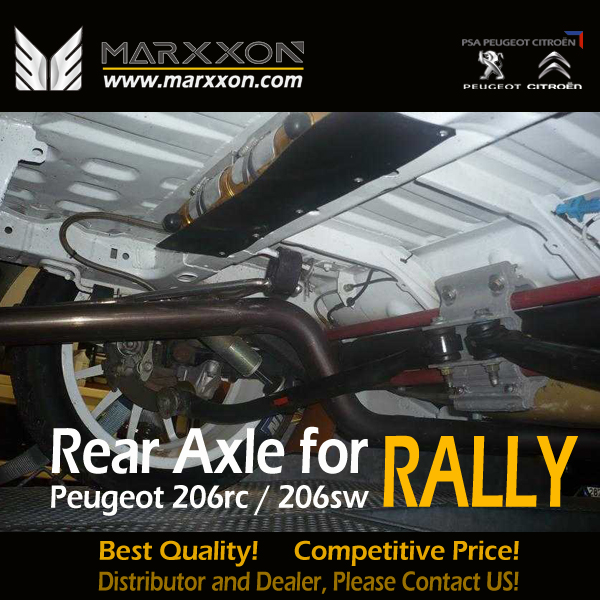 enhanced marxxon peugeot 206rc rear axle with bigger torsion bars and reinforced bar helps 206rc